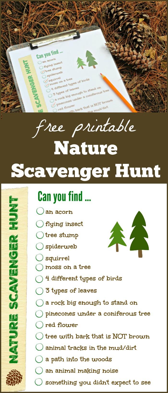 Free Nature Scavenger Hunt List {W/free Printable!} - Edventures inside Free Printable Blank Advent Activities List Minimal