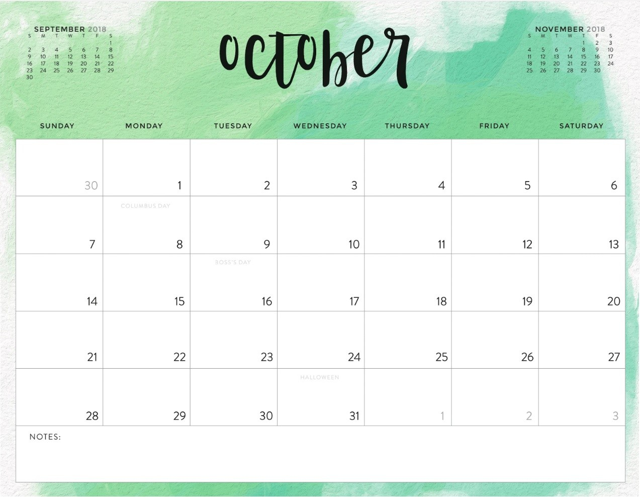 Free October 2018 Calendar In Printable Format Templates - Calendar inside October Calendar Printable Template