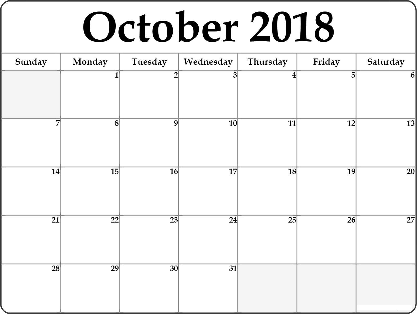 Free October 2018 Calendar Template Printable Download | Free for Calendar October 2019 Nsw Printable