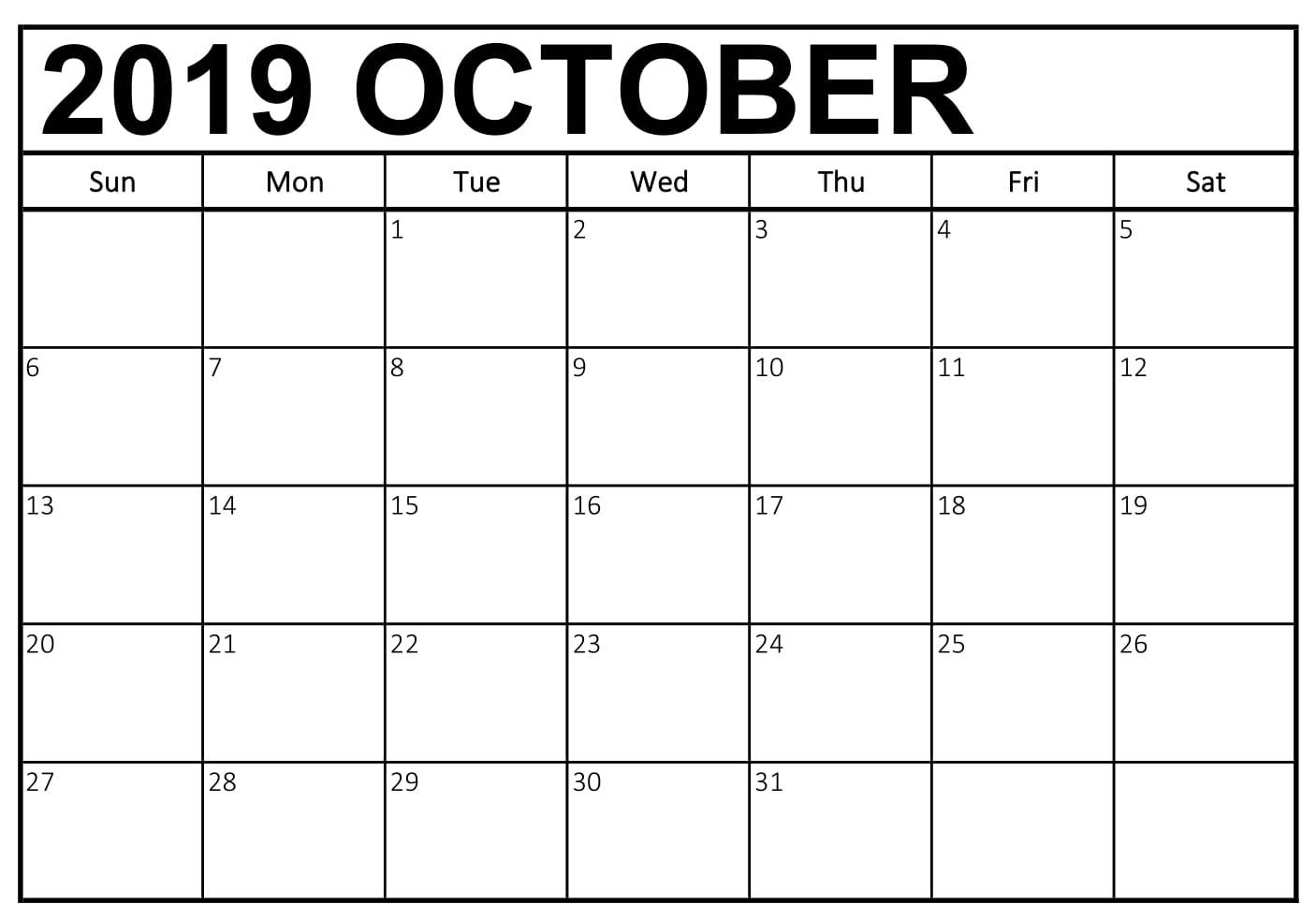 Free October 2019 Calendar Printable Template Pdf Notes Page Formats within Calendar 2019 October To December