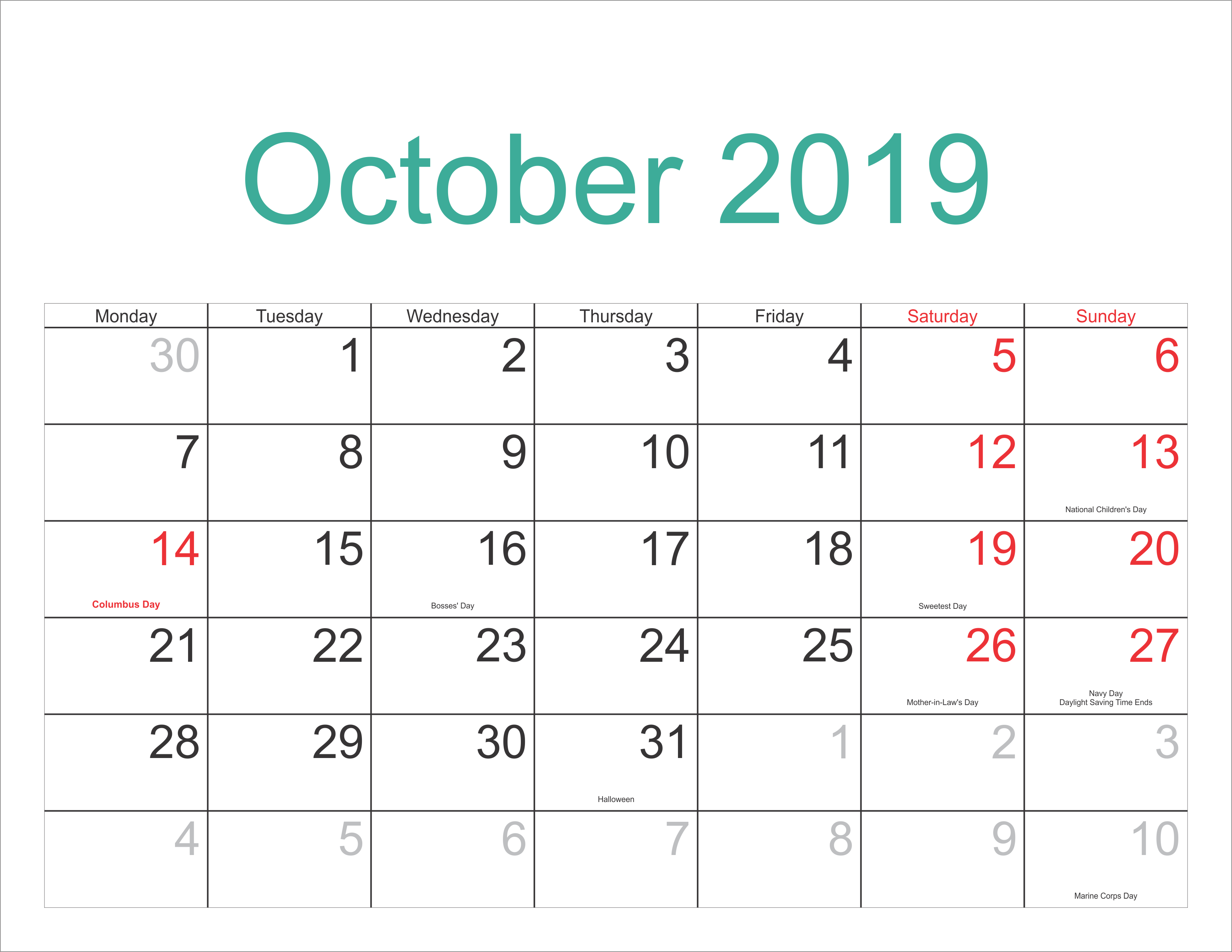 Free October 2019 Calendar With Holidays - Free Printable Calendar for Calendar October 2019 Australia Images