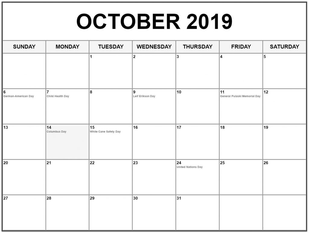 Free October 2019 Calendar With Holidays - Free Printable Calendar within Calendar October 2019 Australia Images