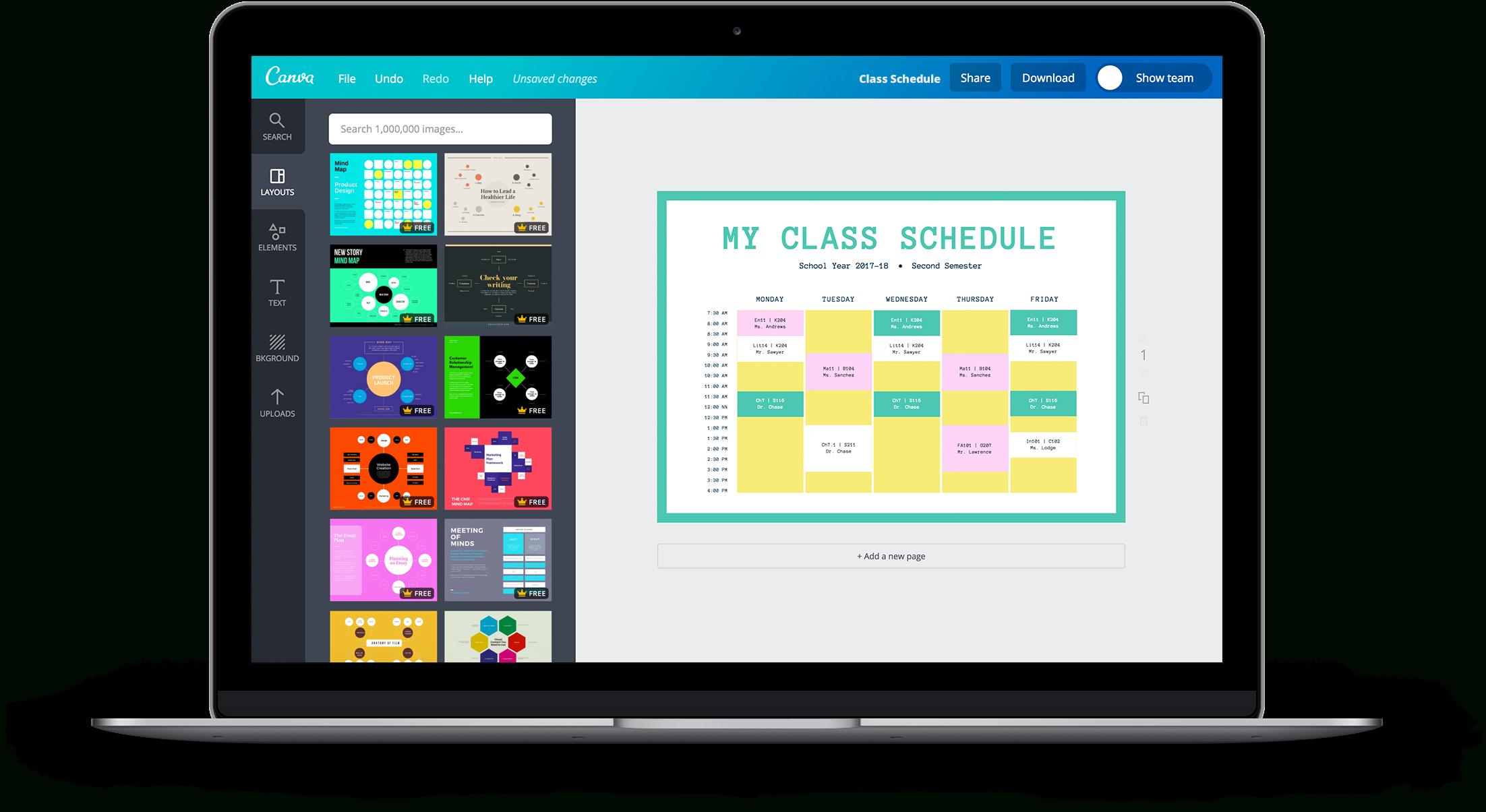 Free Online Class Schedules: Design A Custom Class Schedule In Canva pertaining to Cute Class Schedule Template 8 Class