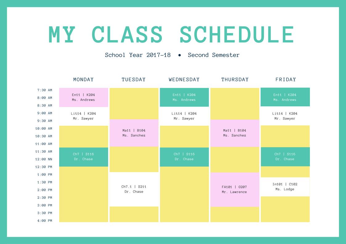 Free Online Class Schedules: Design A Custom Class Schedule In Canva regarding Cute Class Schedule Template 8 Class