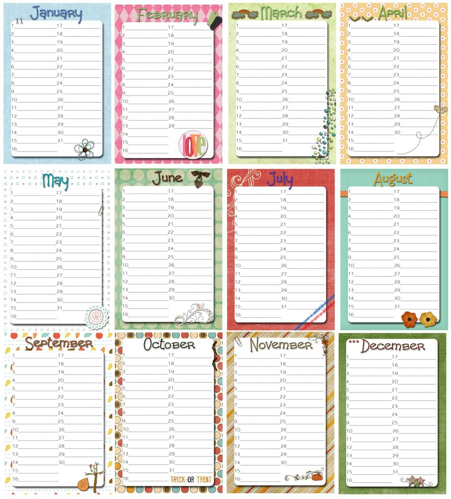 Free Perpetual Calendar Template | Posts Related To Perpetual inside Blank Monthly Birthday Calendars