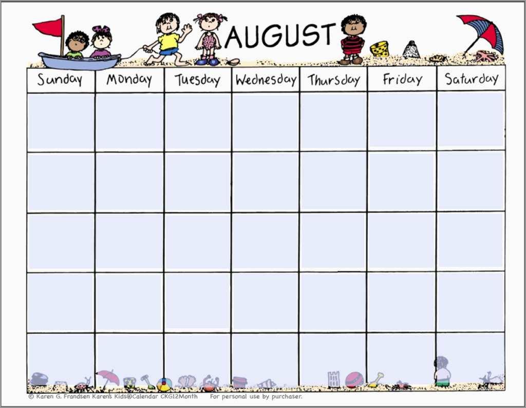 Free Preschool Calendar Templates 2017 Prettier 8 Preschool Calendar with August Calendar Template For Pre K