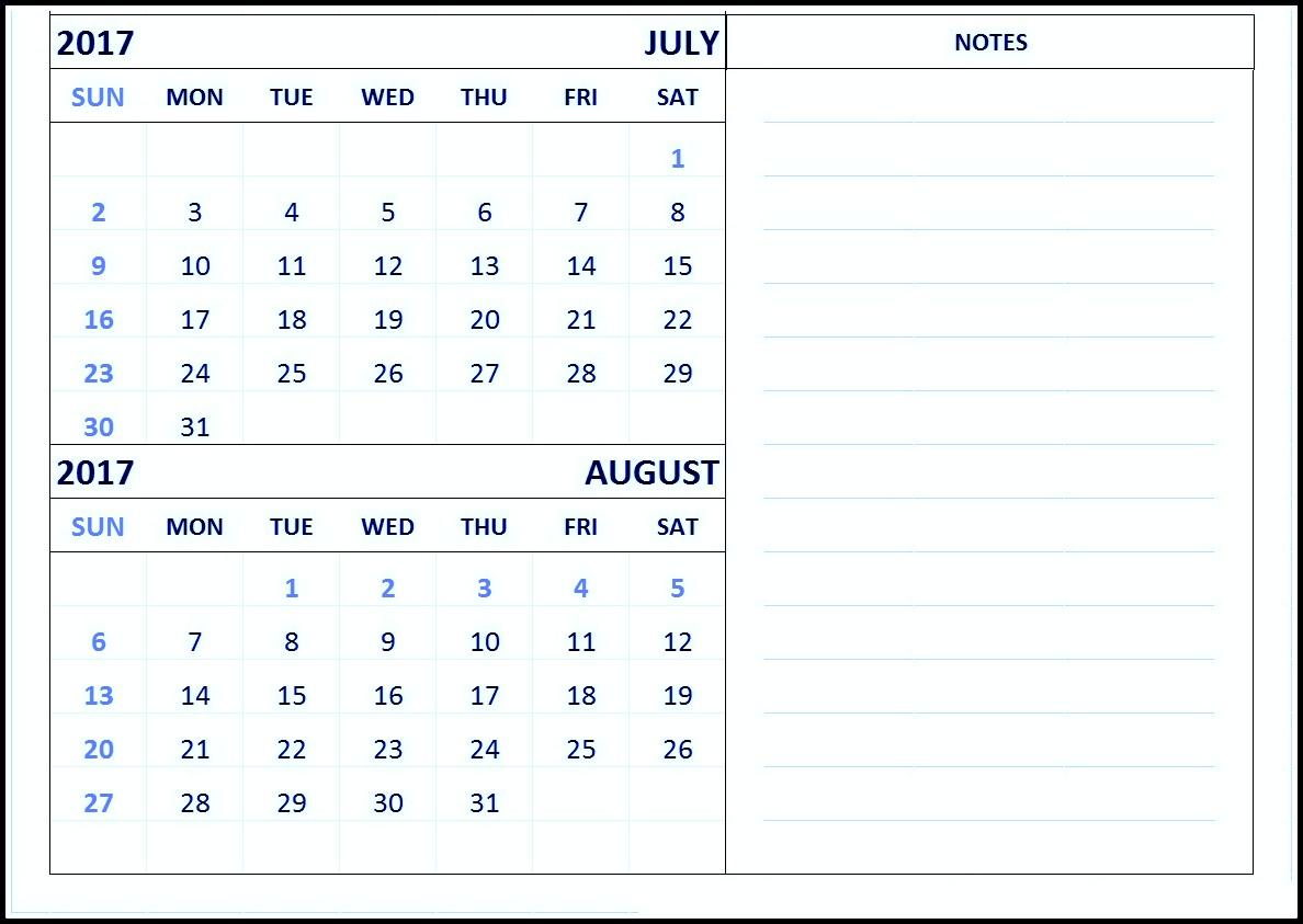 Free Print June July August 2017 Calendar Template pertaining to Printable July Augsut September Calendar Template