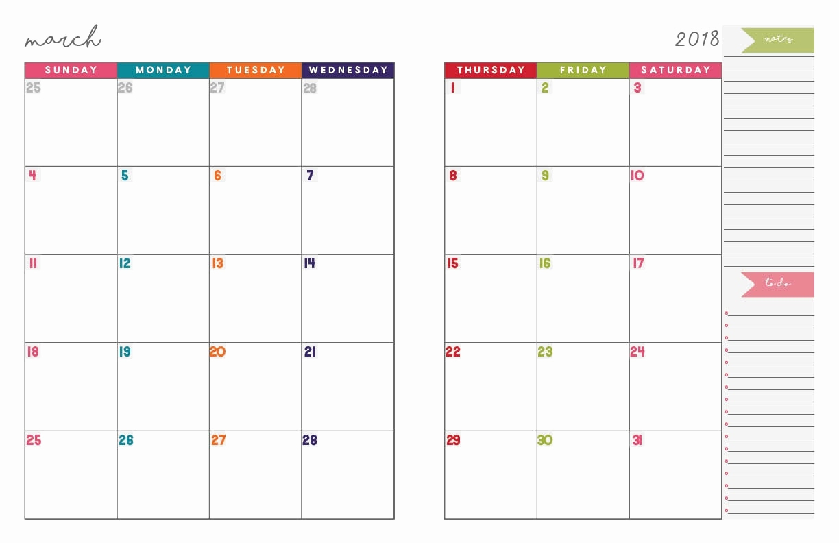 Free Printable 2018 Monthly Calendar For 2 Page Monthly Planner with 2 Page Monthly Calendar Template