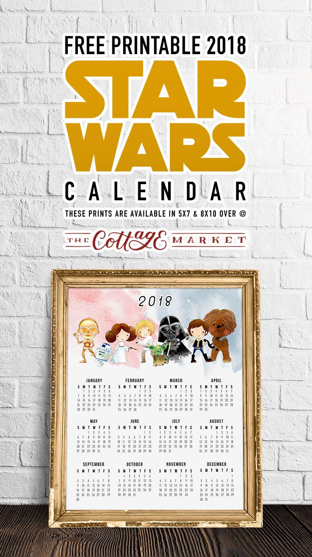 Free Printable 2018 Star Wars Calendar /// One Page /// Original regarding Star Wars Templates Printables Calendar