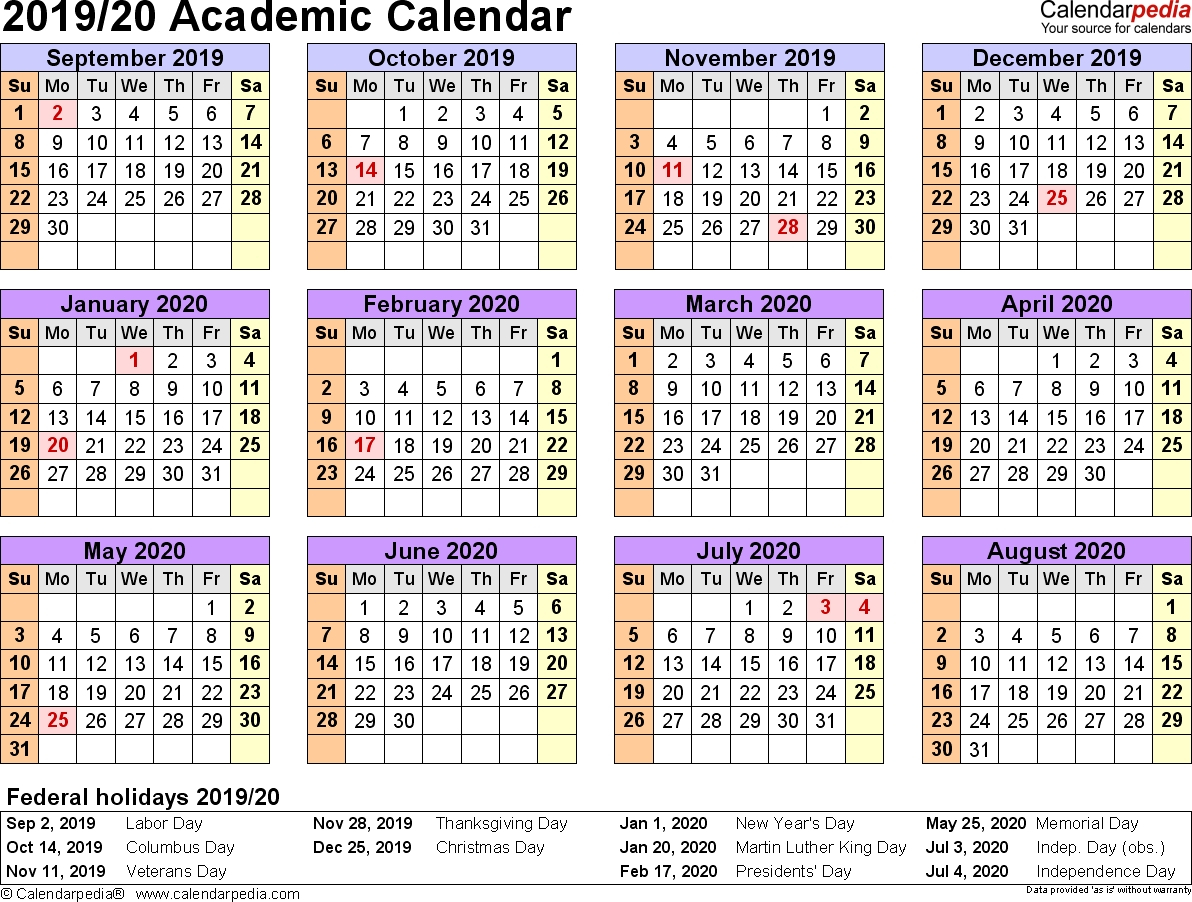 Free Printable 2019-2020 Academic Calendar - Calendar Inspiration Design regarding Virginia Tech Academic Calendar 2019 2020
