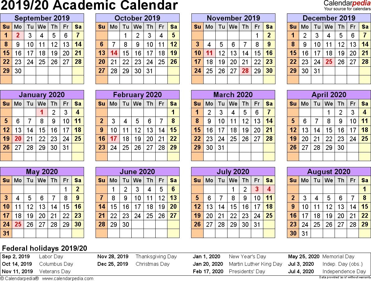 Free Printable 2019-2020 Academic Calendar - Calendar Inspiration Design within Hmrc Tax Weekly Calander 2019-2020