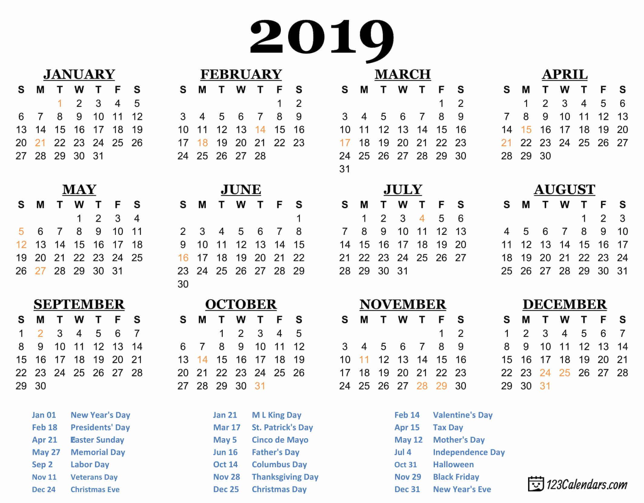 Free Printable 2019 Calendar | 123Calendars for Calendar October 2019 Pocket Calendar