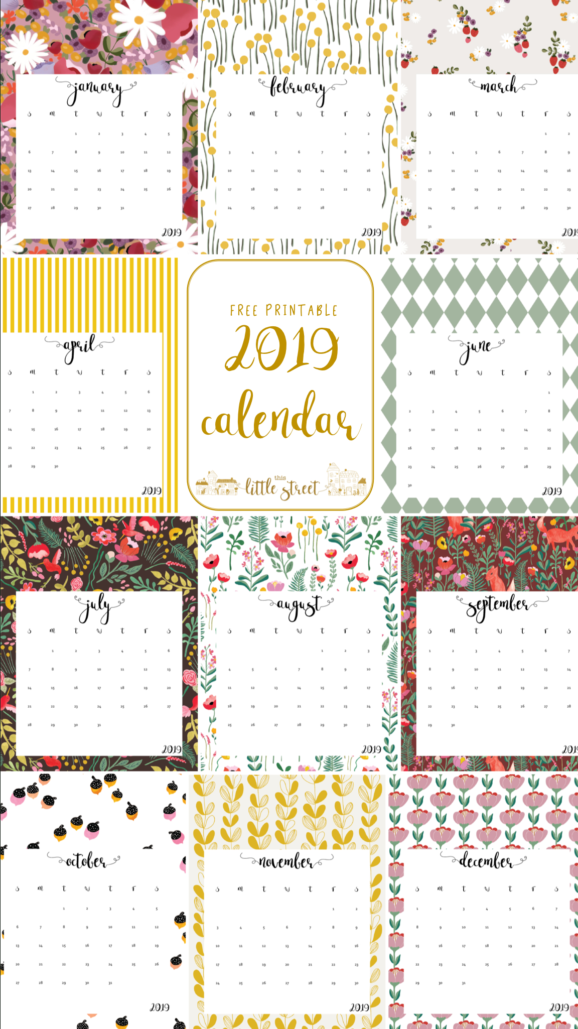 Free Printable 2019 Calendar. | Calendars | Free Printable Calendar throughout Homeschool Year At A Glance 2019-2020 Botanical Calendar Printable Free