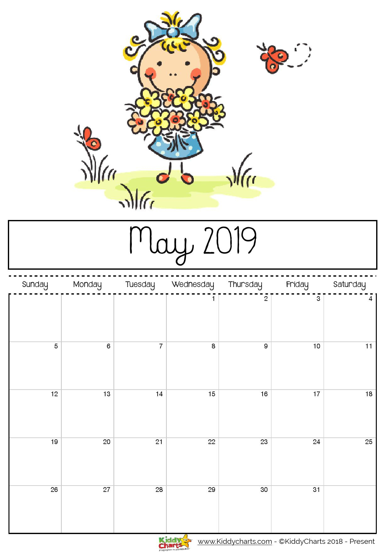 Free Printable 2019 Calendar - Print Yours Here | Kiddycharts pertaining to Empty Calendar Template For Kids