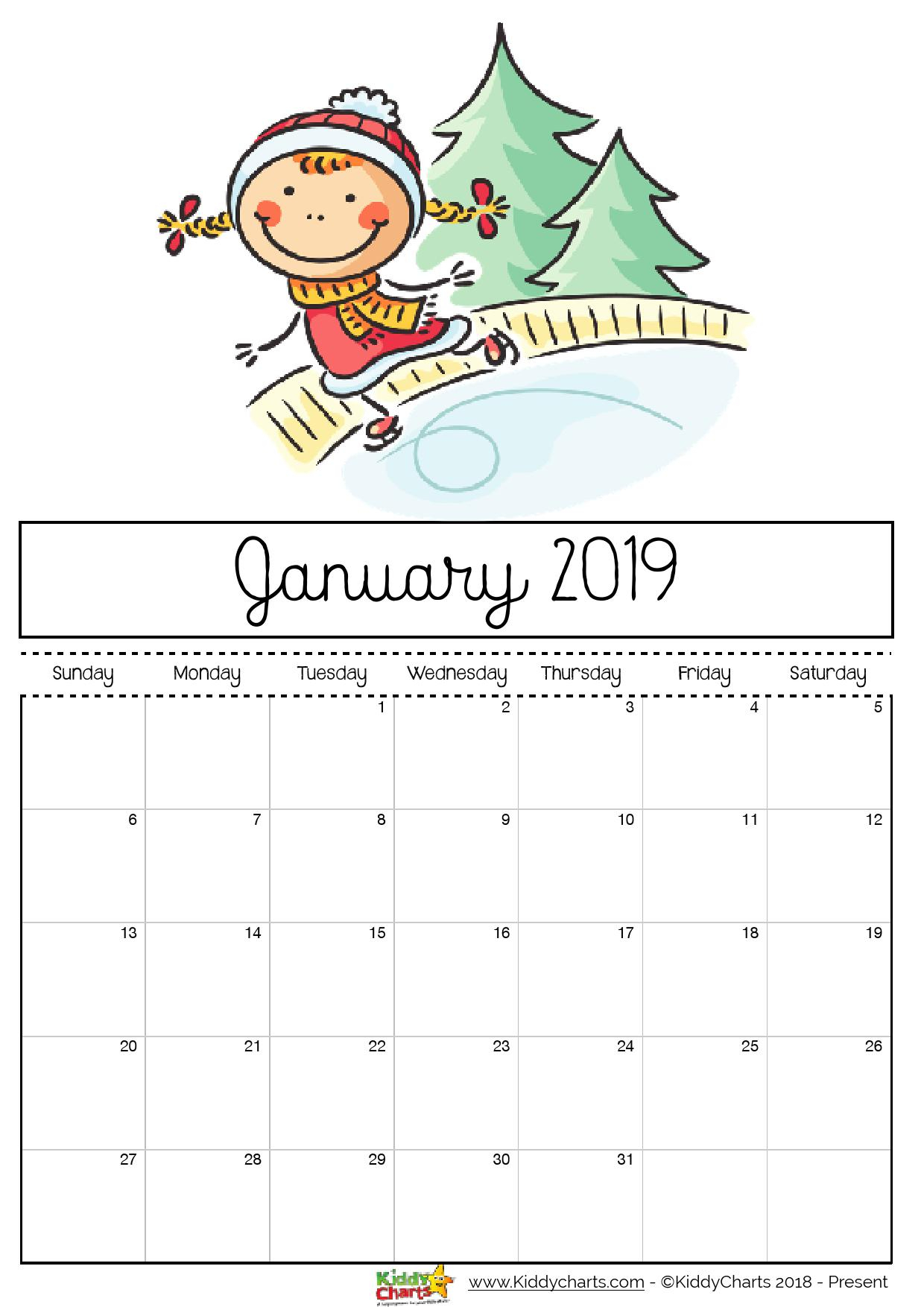 Free Printable 2019 Calendar - Print Yours Here | Kiddycharts regarding Monthly Calendar Template Kids