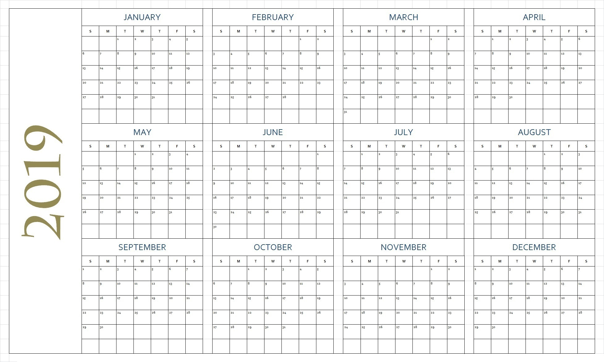 Free Printable 2019 Calendar Template Blank Download for Blank Printable Calendars Yearly