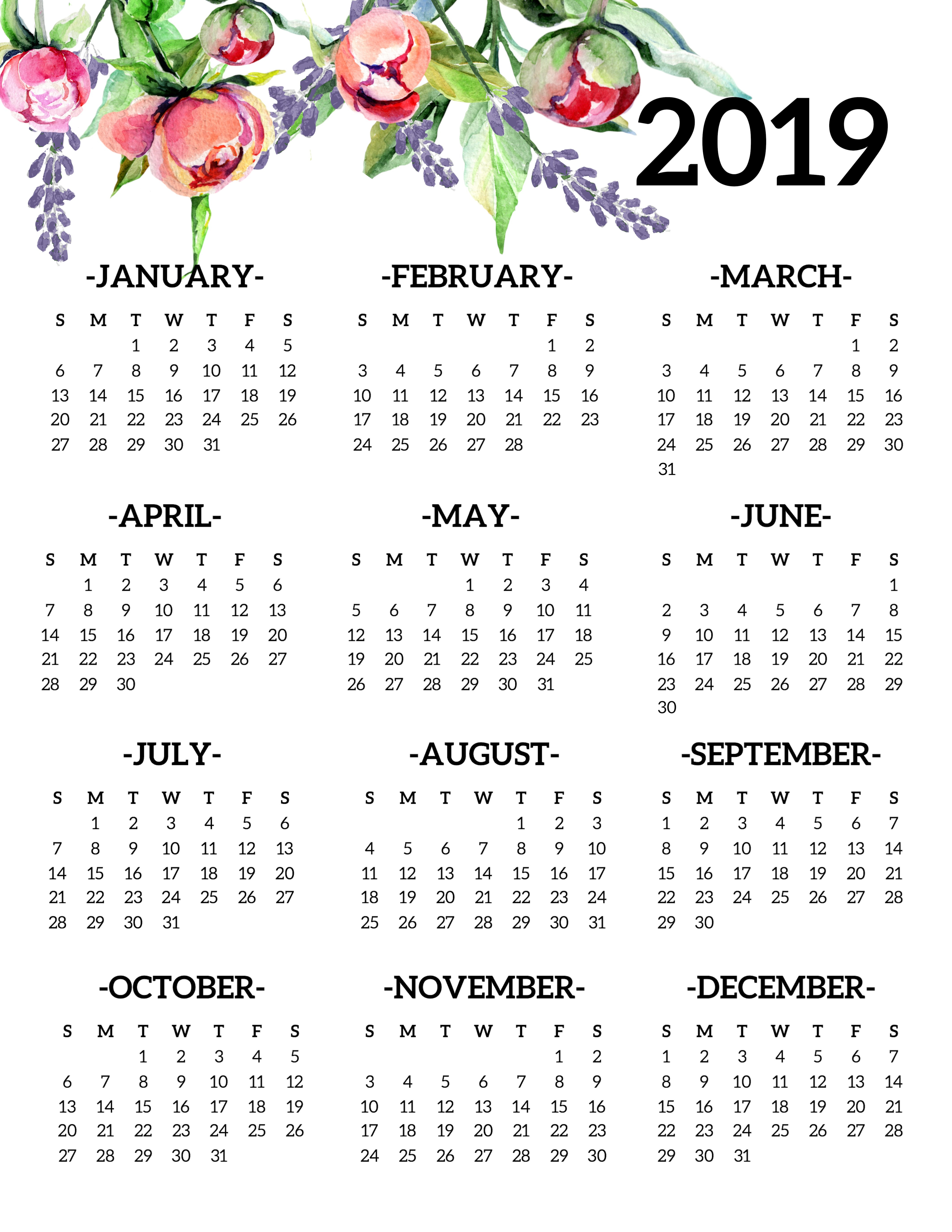 Free Printable 2019 Calendar Yearly One Page Floral - Paper Trail Design with regard to Blank Year At A Glance Calendar Template
