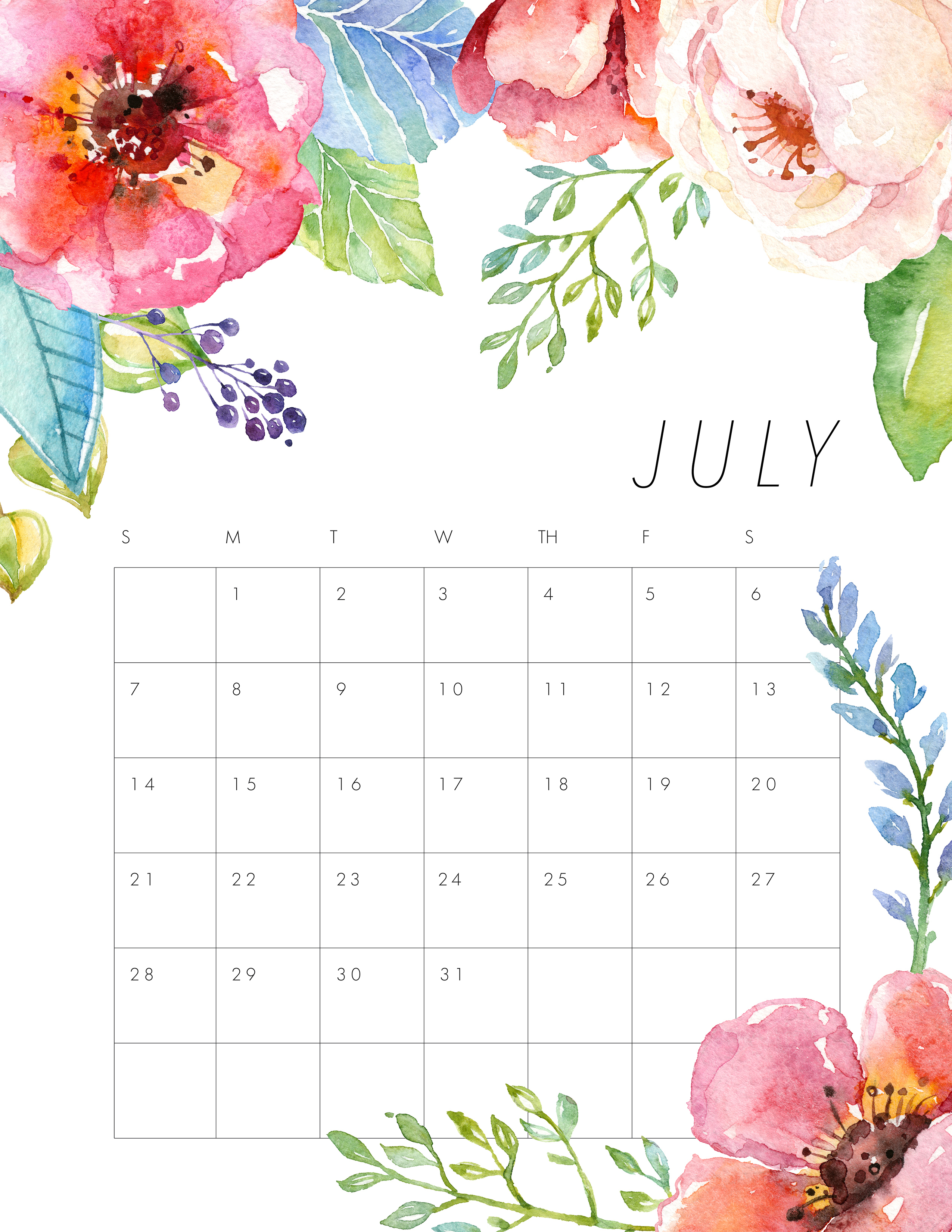 Free Printable 2019 Floral Calendar - The Cottage Market for July Calendar Template Flowers
