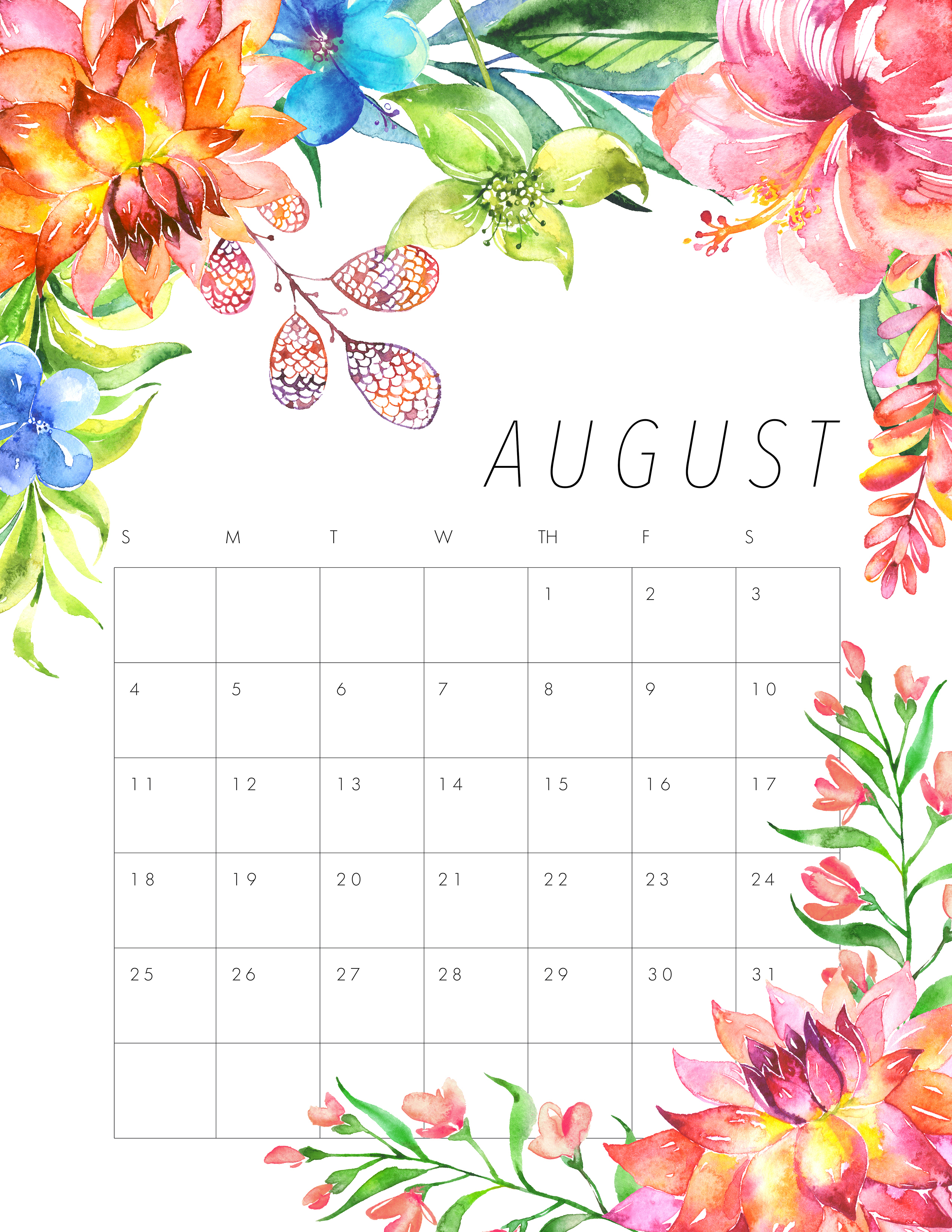 Free Printable 2019 Floral Calendar - The Cottage Market pertaining to July Calendar Template Flowers