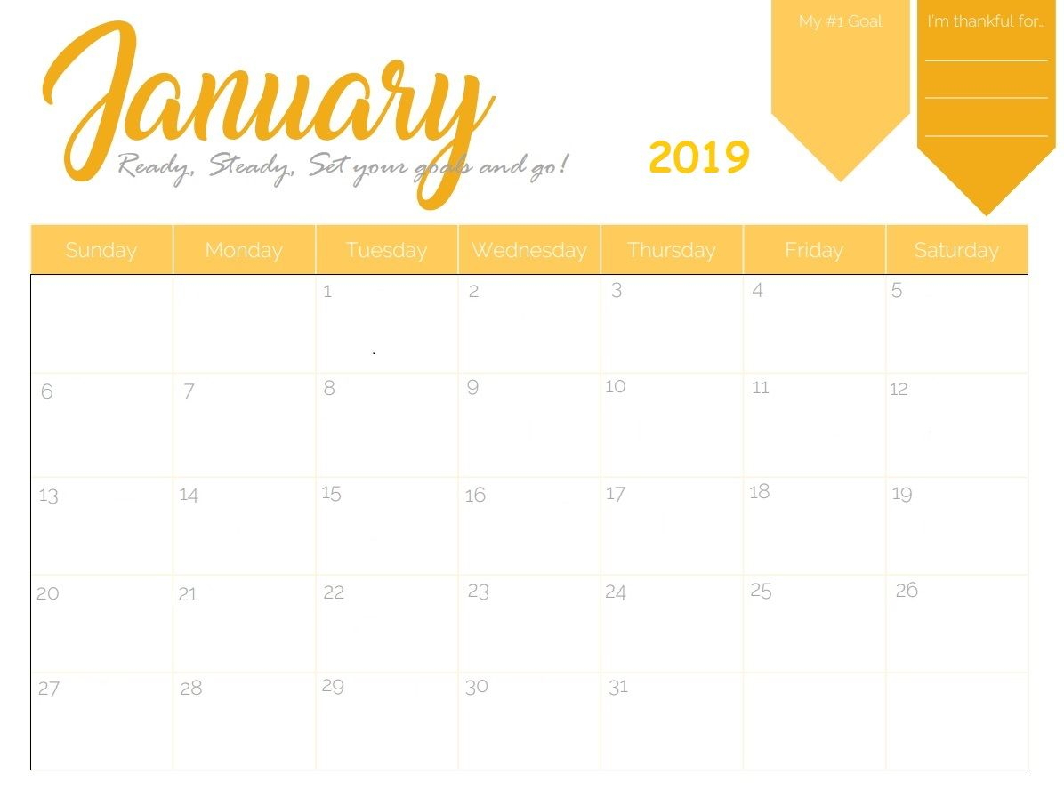 Free Printable 2019 January Calendar | Calendar 2018 | January pertaining to Monday Through Friday Calendar Template January Printable