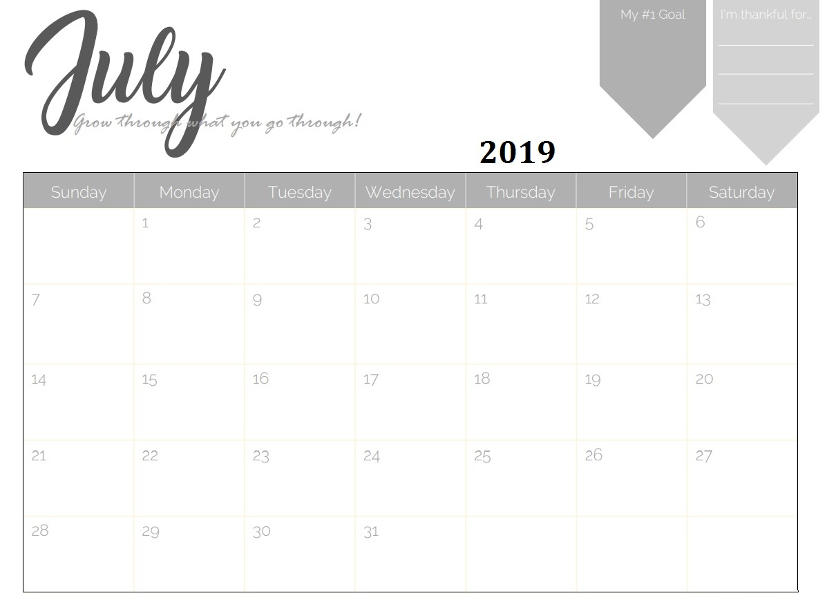 Free Printable 2019 Monthly Calendar | Latest Calendar with regard to Cute July Calendar Template