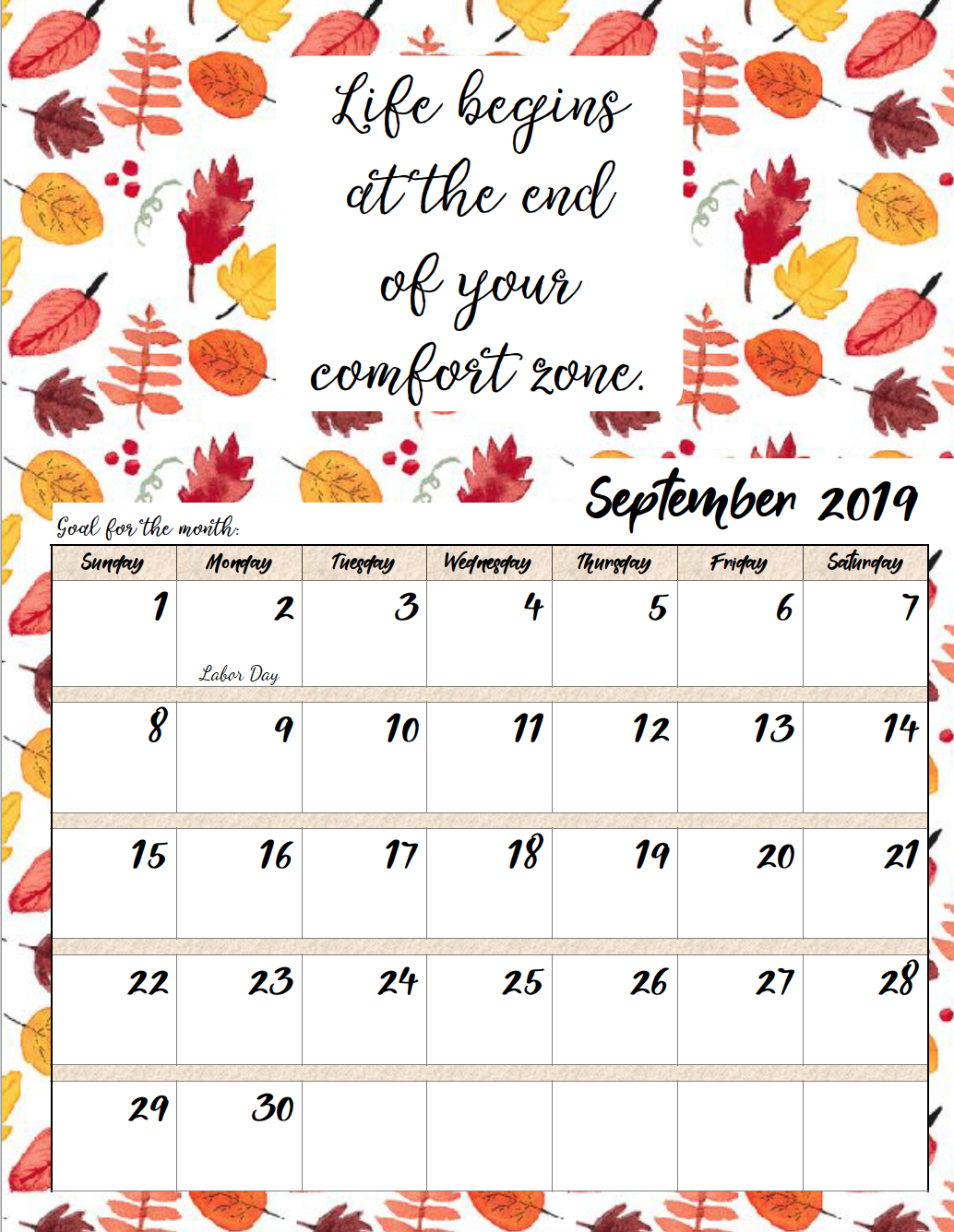 Free Printable 2019 Monthly Motivational Calendars intended for Free Printable Calendar 2020 Motivational