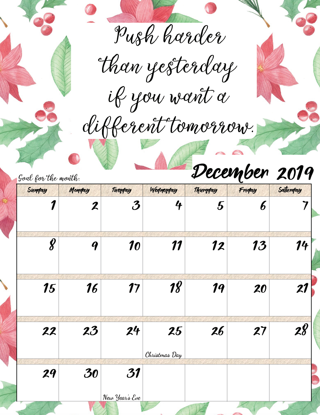 Free Printable 2019 Monthly Motivational Calendars | Morning Prayers intended for Blank Calendar Months For Year 2019-2020 Girly