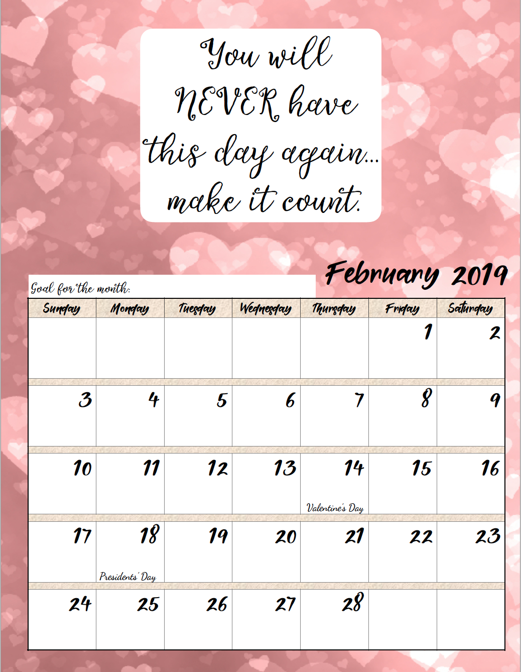 Free Printable 2019 Monthly Motivational Calendars regarding Free Printable Calendar 2020 Motivational