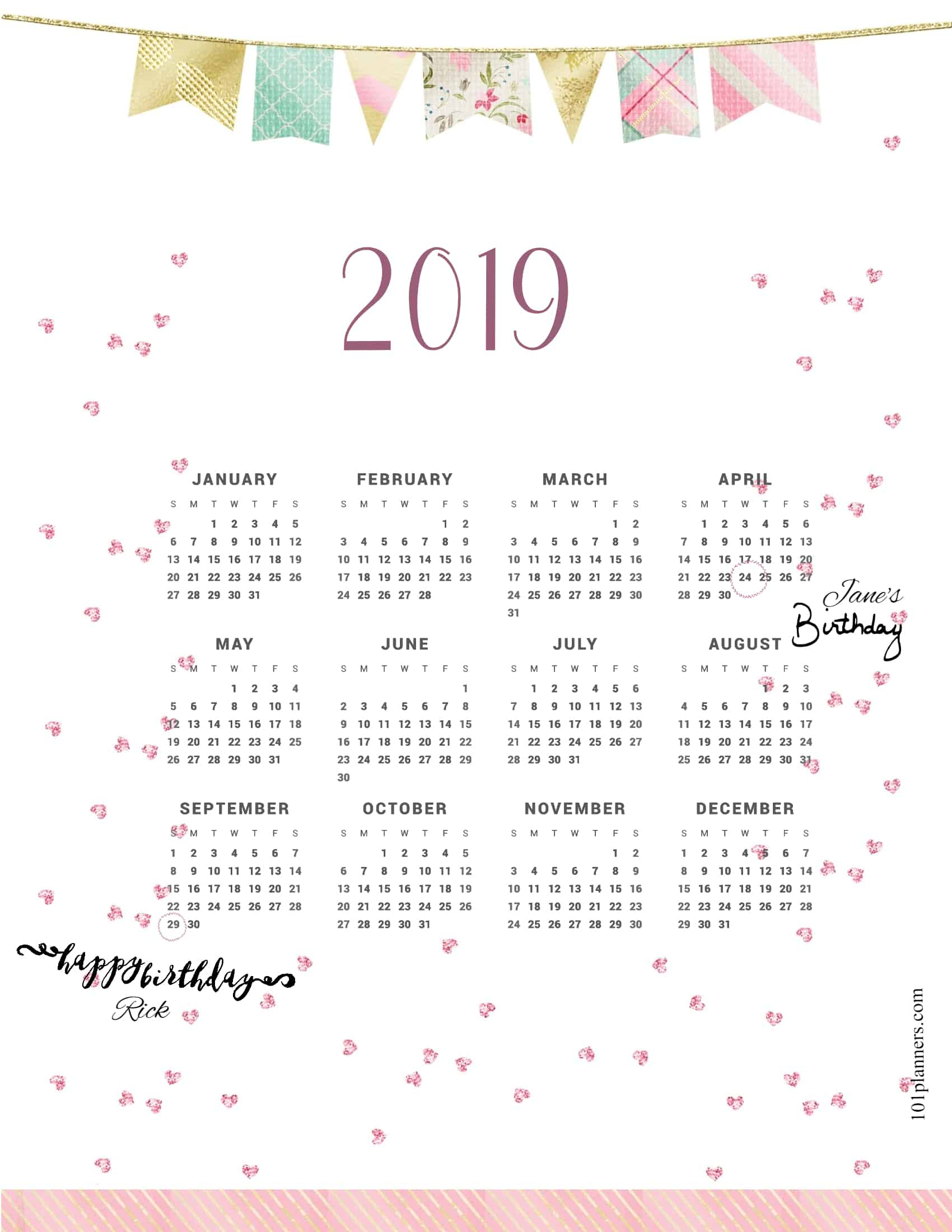 Free Printable 2019 Yearly Calendar At A Glance | 101 Backgrounds throughout Blank Year At A Glance Calendar Template