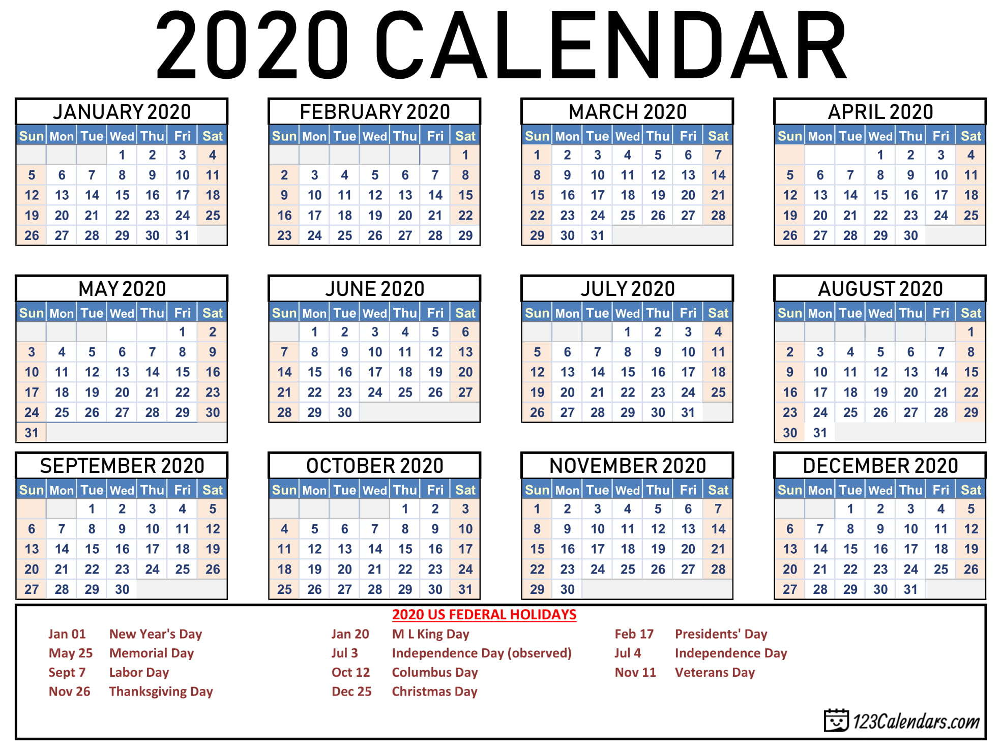 Free Printable 2020 Calendar | 123Calendars intended for Free 2020 Printable Pocket Calendar
