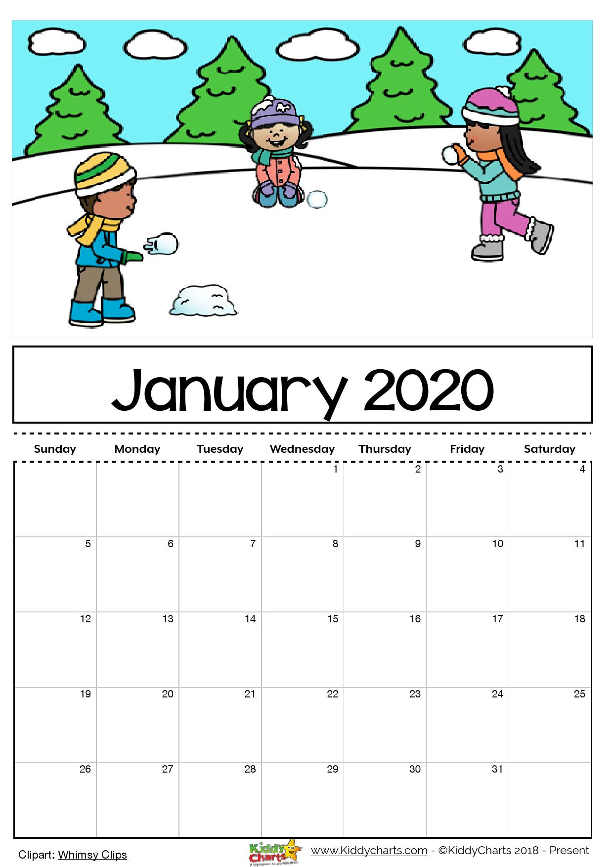 Free Printable 2020 Calendar For Kids, Including An Editable Version throughout Printable 2020 Calendar I Can Edit