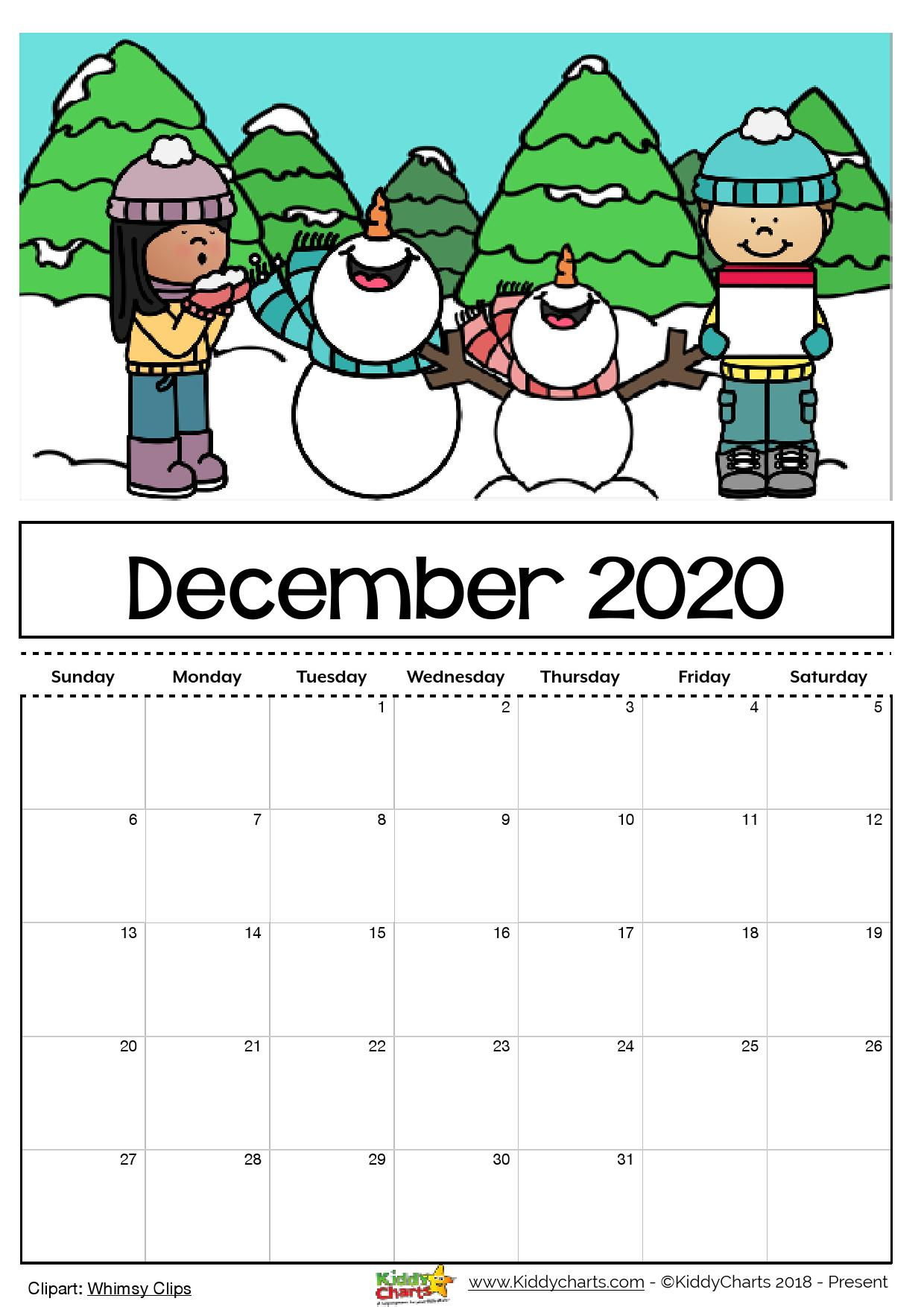 Free Printable 2020 Calendar For Kids, Including An Editable Version with 2020 Free Printable Coloring Calendar