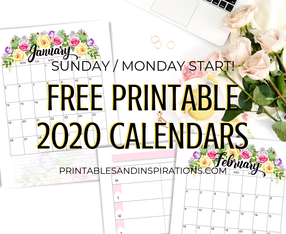 picture about Pretty Printable Calendar titled Beautiful Printable Calendar 2020 With out Down load Calendar