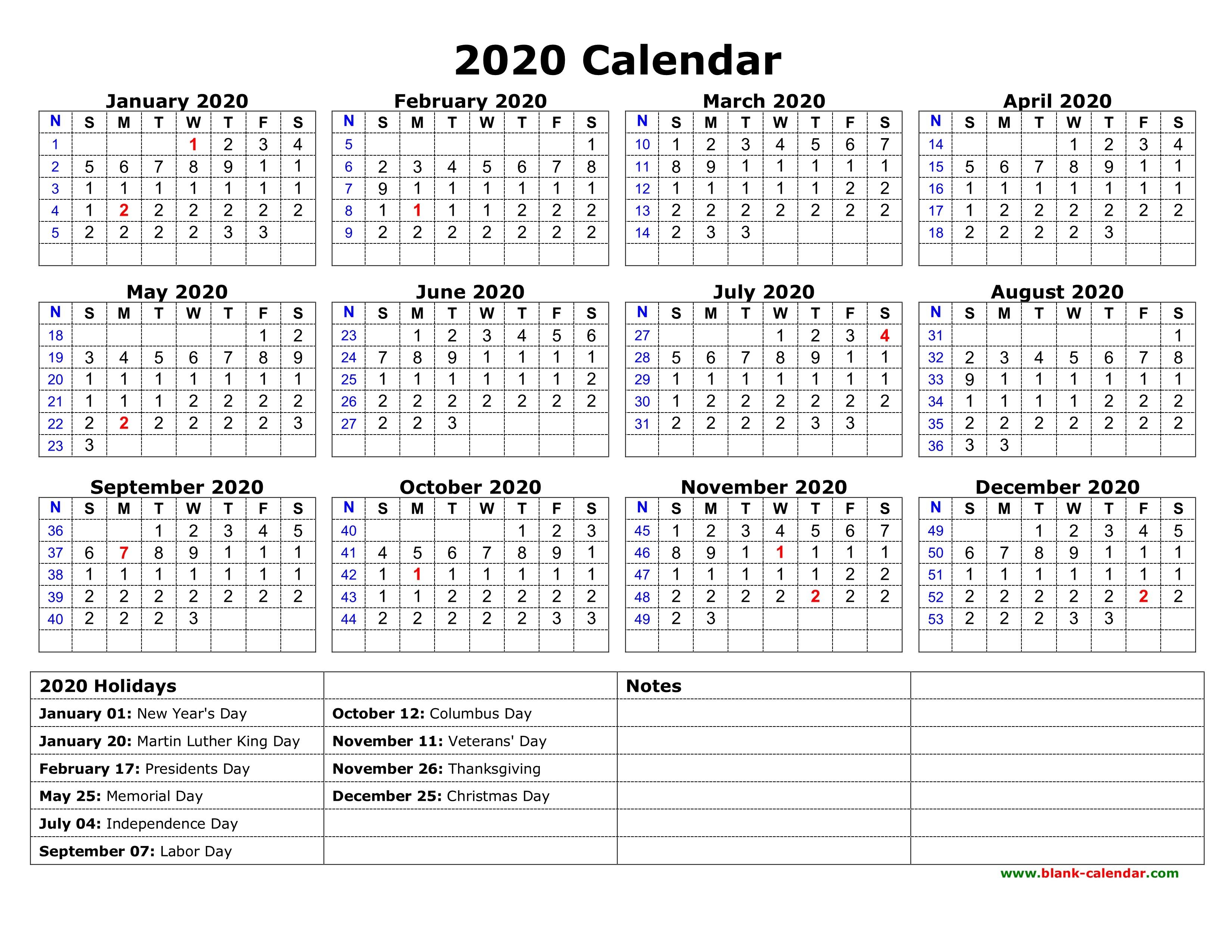 Free Printable 2020 Calendar With Holidays 2 - Crearphpnuke with 2020 Free Printable Coloring Calendar