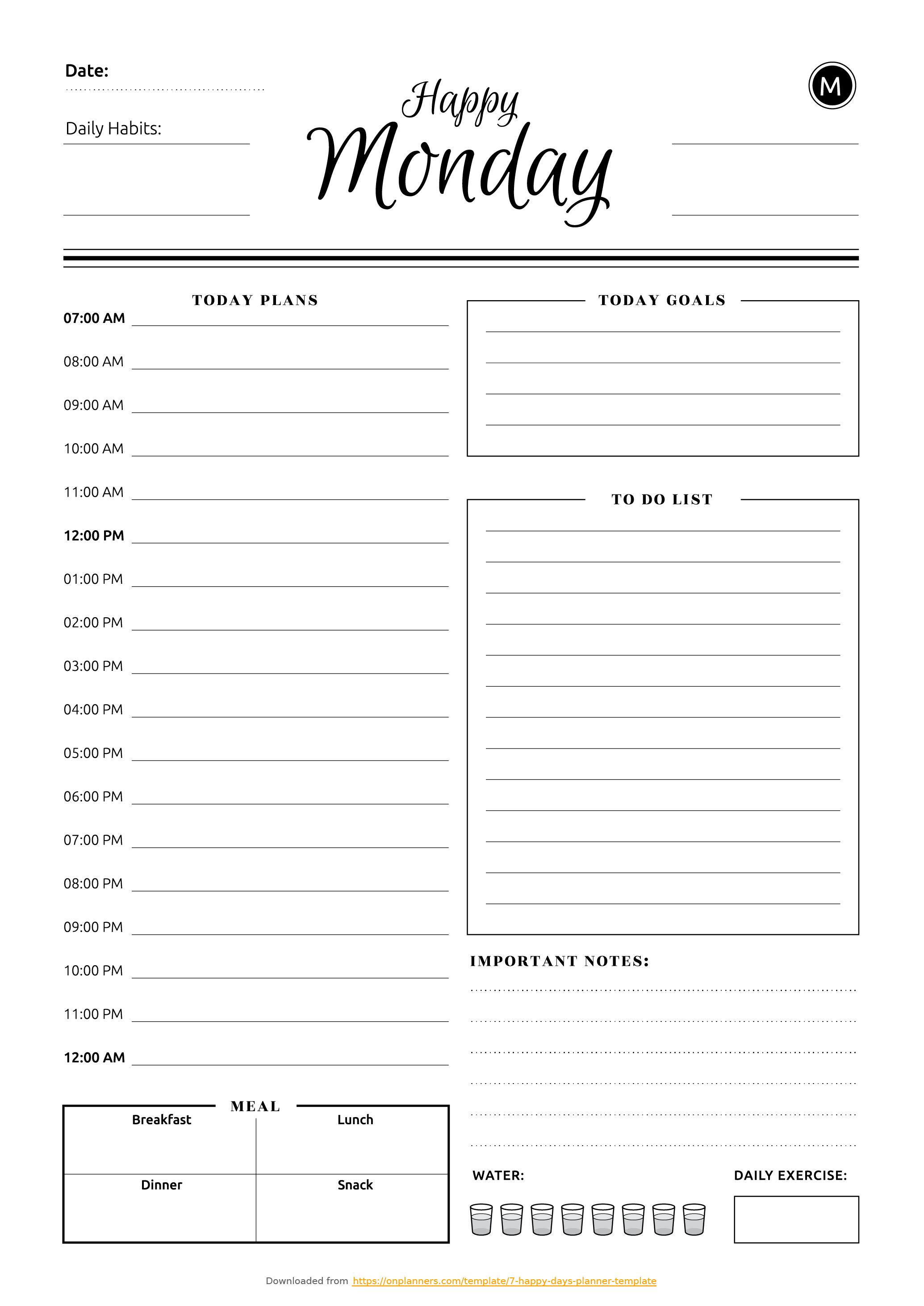 Free Printable 7 Happy Days Planner Template Pdf Download in Free Printable Day Planner Templates