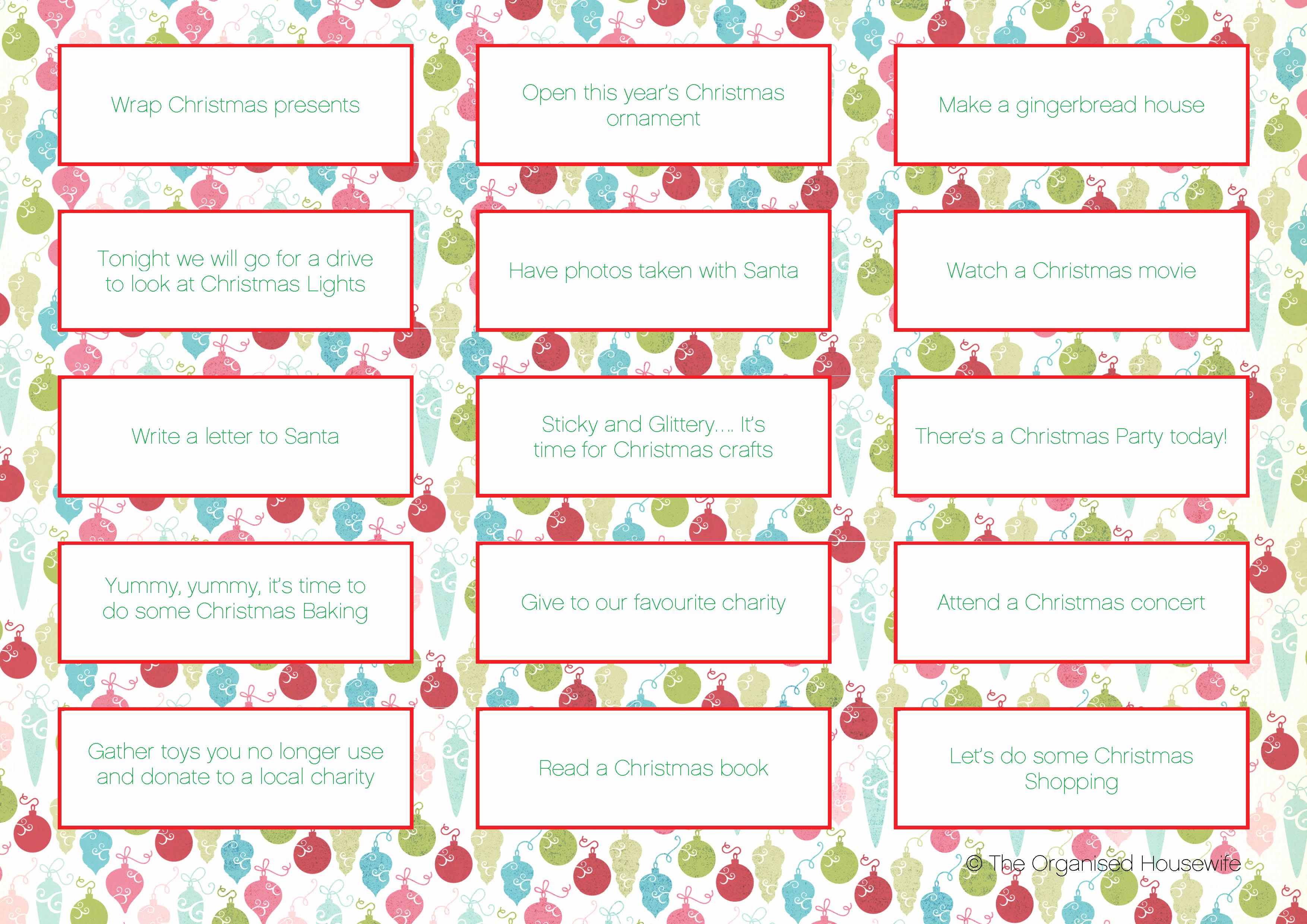 Free Printable Advent Calendar Template For Advent Calendar with Christmas Calendar Printable Template
