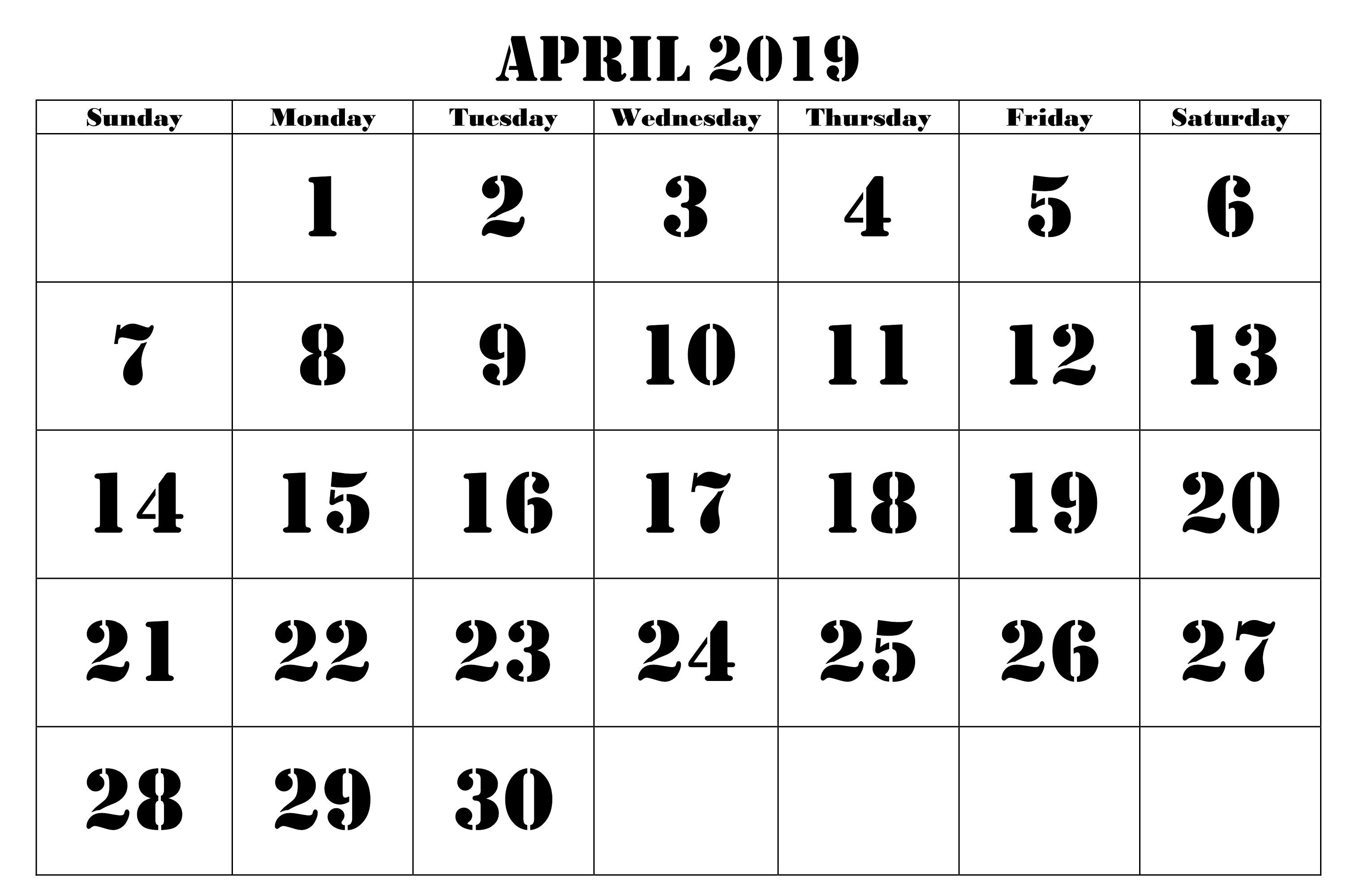 Free Printable April 2019 Calendar For Monthly Planner #tumblr in Free Printable 2020 Waterproof Calendars