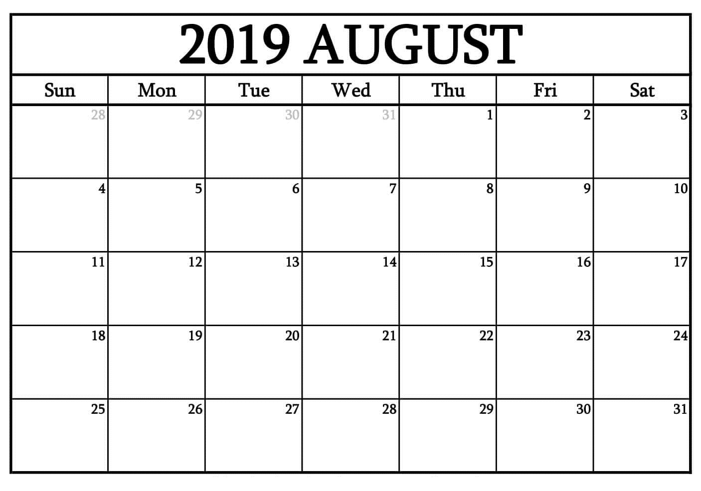 Free Printable August 2019 Calendar Blank Pages - Latest Printable with Blank Printable Calendar Pages Aug