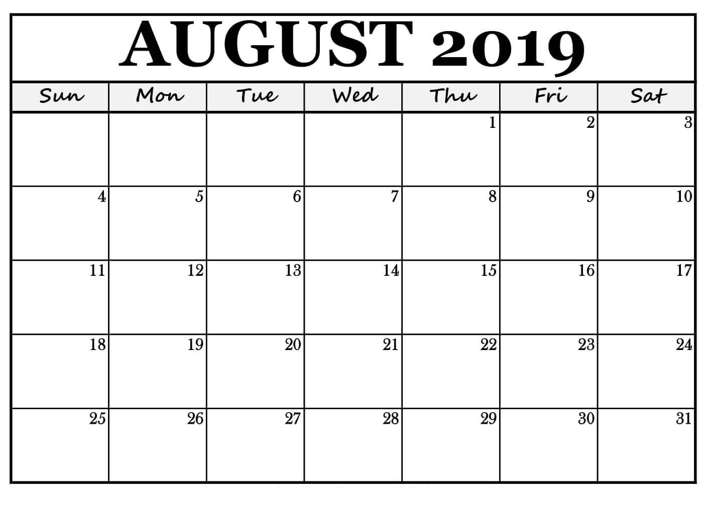 Free Printable August 2019 Calendar Landscape - Free Printable in Pretty Blank Augst Calender