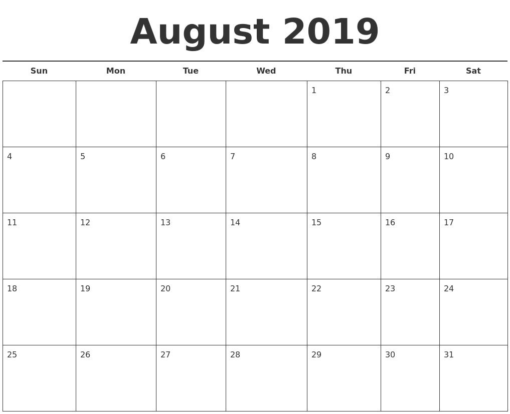 Free Printable August 2019 Calendar Landscape - Free Printable with regard to Blank Calendar Printable August