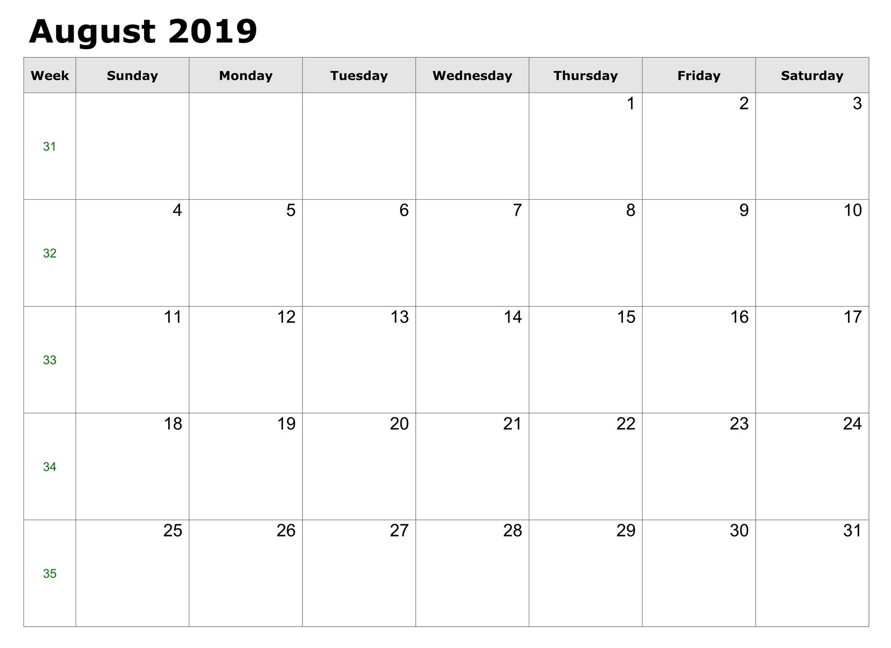 Free Printable August 2019 Calendar Template - Free Printable for Free Cute Printable Calendar Templates