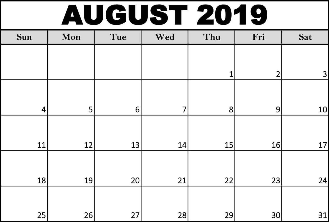 Free Printable August 2019 Calendar Template In Pdf Word Excel with regard to Calendar Template For August