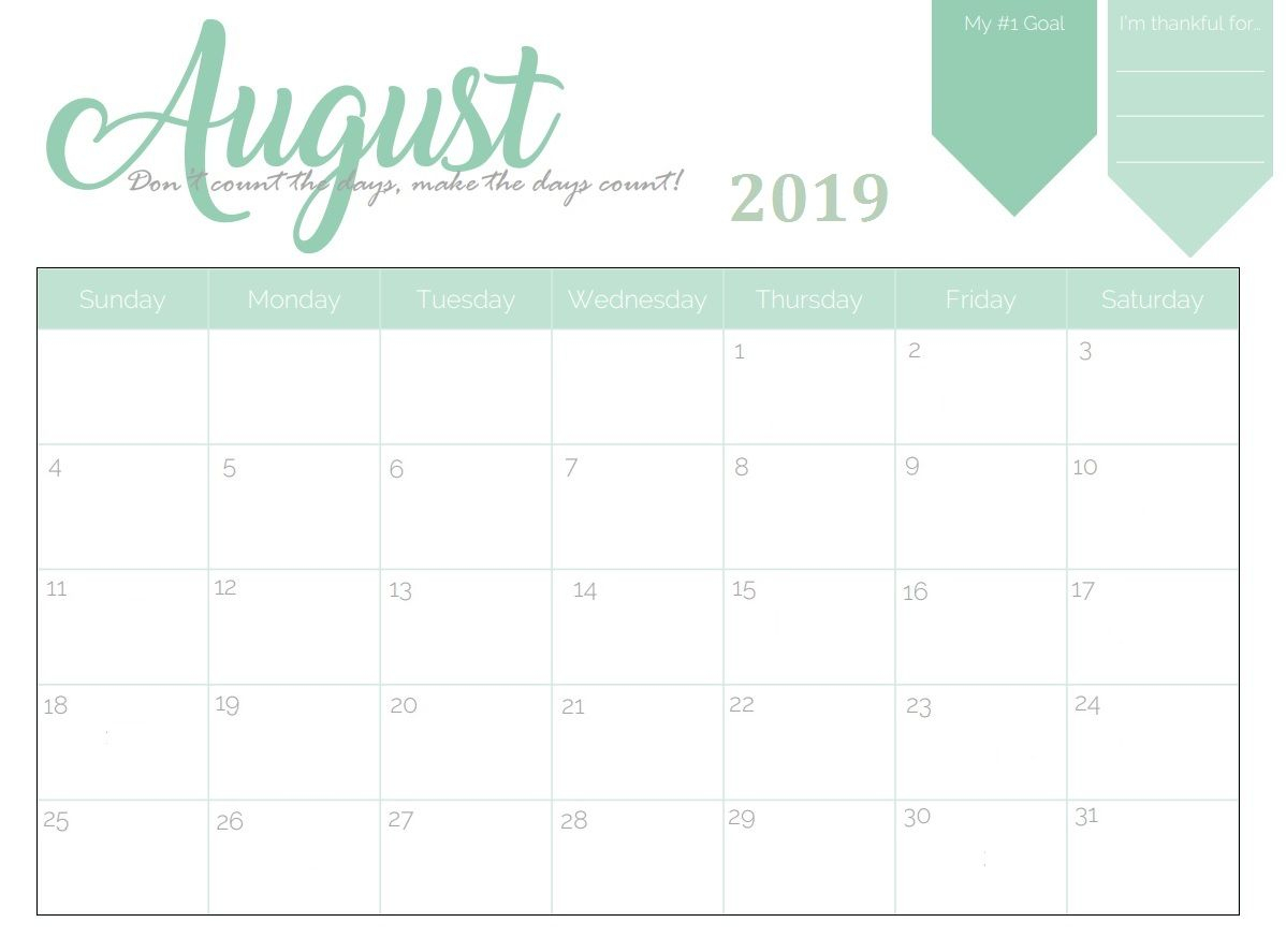 Free Printable August 2019 Planner Calendar | Calendar 2018 with Cute August Monthly Calendar Template Printable
