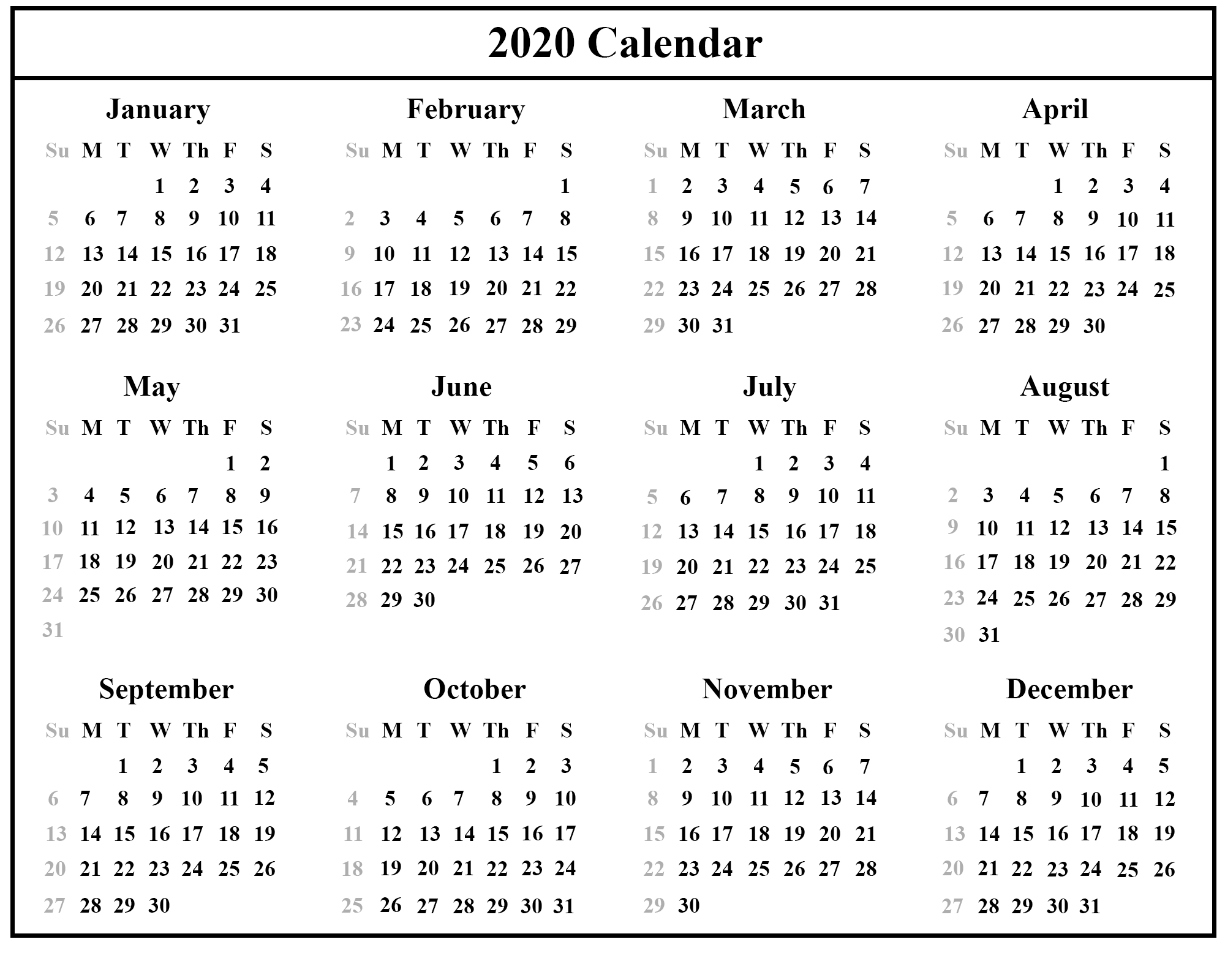 Free Printable Australia Calendar 2020 In Pdf, Excel & Word Format with Free Template 2020 Sunday To Saturday Calendar