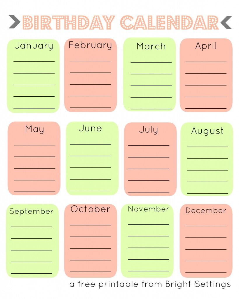 Free Printable Birthday Calendar   Crafts - Fonts And Lettering throughout Monthly Birthday Calendar Template