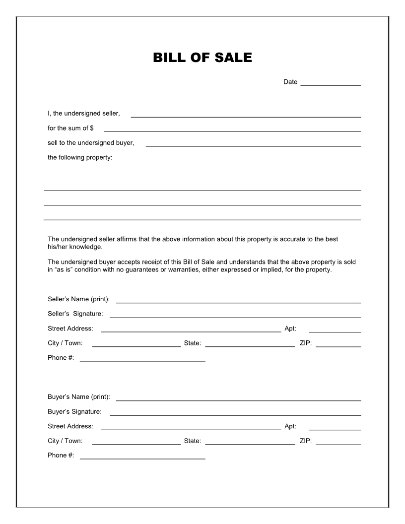 Free Printable Blank Bill Of Sale Form Template - As Is Bill Of Sale in Free Blank Templates To Print
