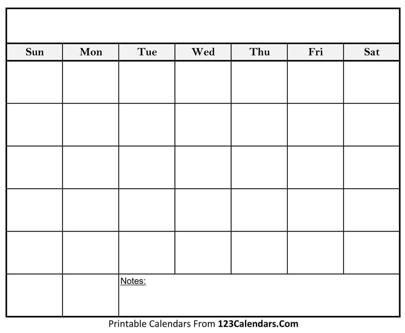 Free Printable Blank Calendar | 123Calendars throughout Blank Calendar Template With Notes