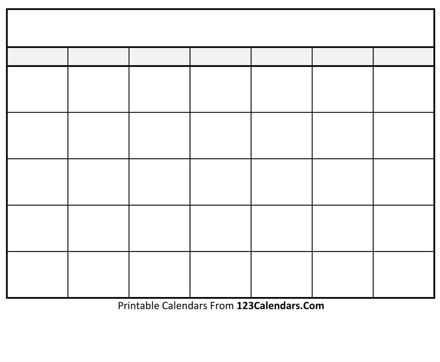 Free Printable Blank Calendar | 123Calendars within Printable Blank Calendar Template