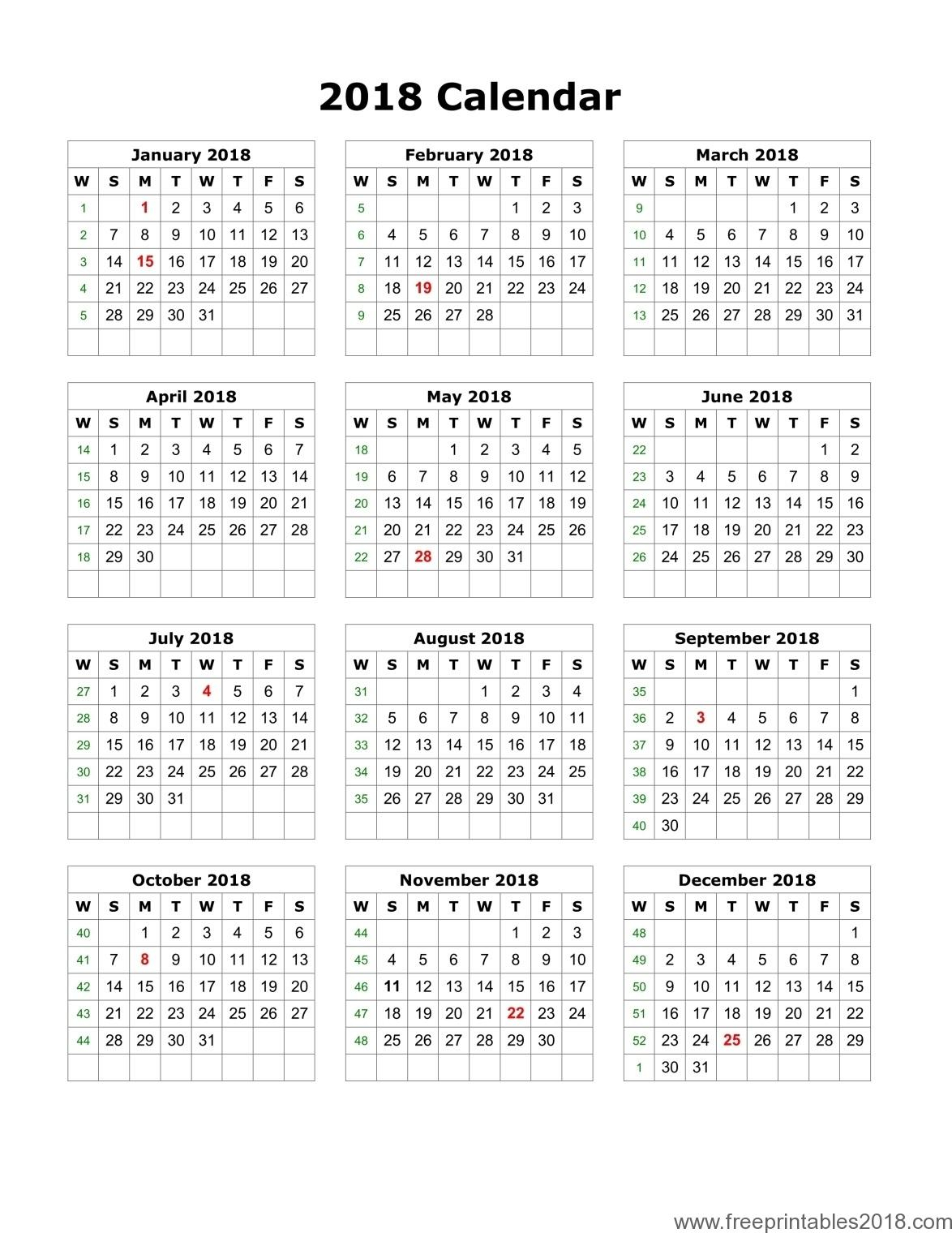 Free Printable Blank Calendar 2018 | Free Printables 2019 within Free Printable Blank Calendar August-December