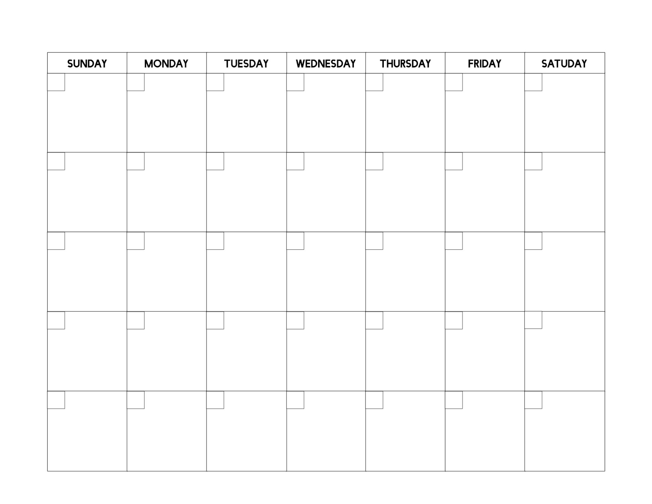 Free Printable Blank Calendar Template - Paper Trail Design in Free Printable Blank Calendar Templates